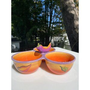 Colored Jalapeno Salsa Serving Bowls  by Clay Art